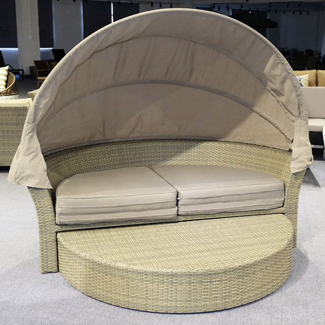 Birdies Factory Double Round with Canopy Rattan Day Outdoor Pool Beach Sun Bed