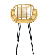 Manufacturer Modern Outdoor Restaurant Metal High Rattan Wicker Bar Stool Chair