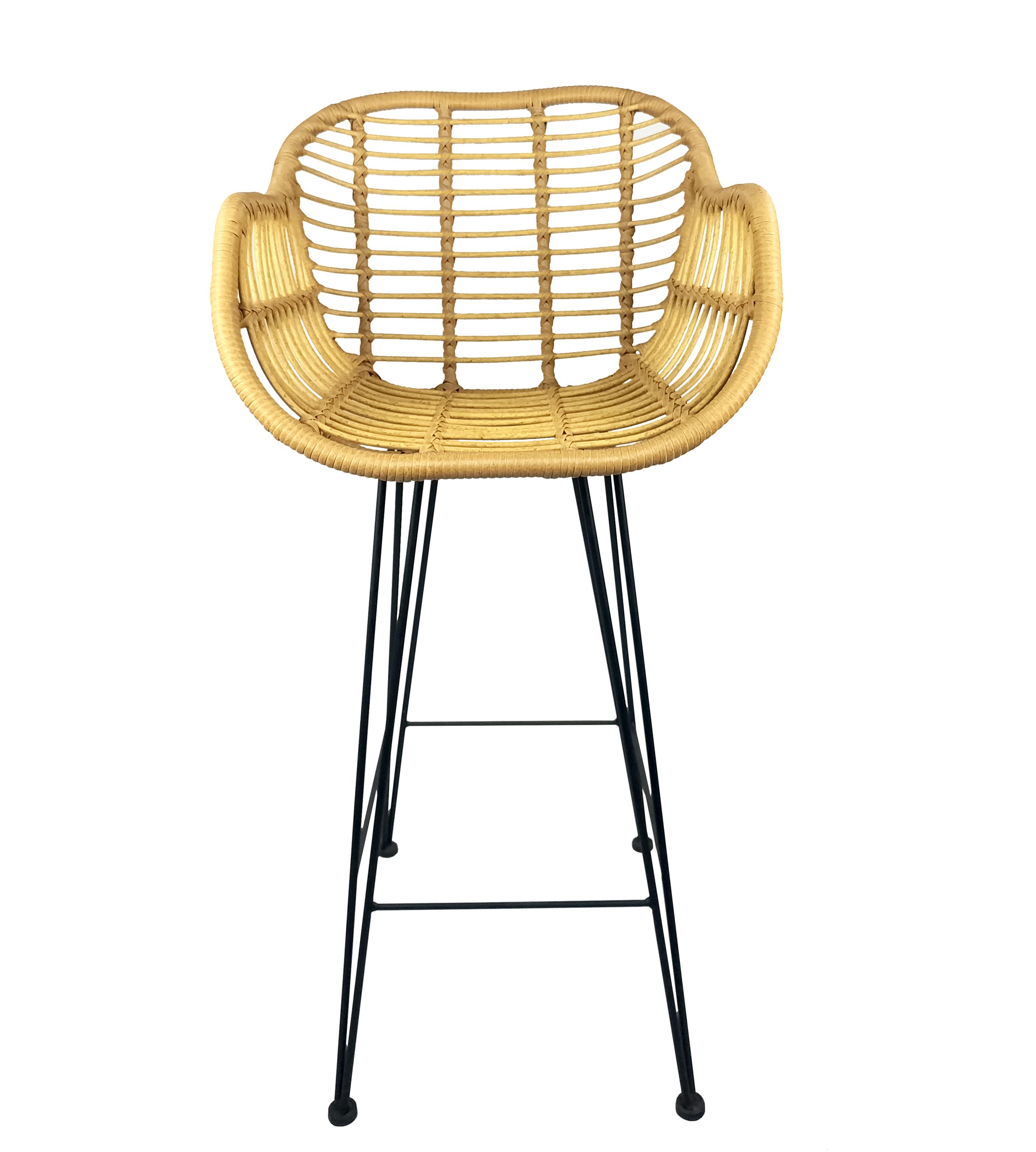 Manufacturer Modern Outdoor Restaurant Metal High Rattan Wicker Bar Stool Chair