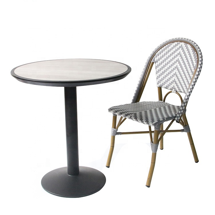 Wholesale Discount Outdoor Balcony French Cafe Bistro Rattan Aluminum Wicker Chairs rattan / wicker chairs