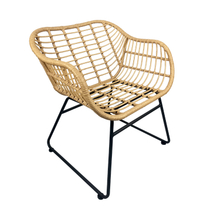 Low Back Armrest Outdoor Bistro Cafe Restaurant Patio Garden Terrace Swimming Pool Beach Iron Metal Wicker Rattan Chair
