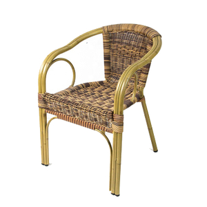 Rattan Garden Bar High Back Wicker Woven Round Bamboo Chairs