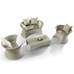 Modern Aluminum Metal Curved Small Outdoor Sectional Set Sale