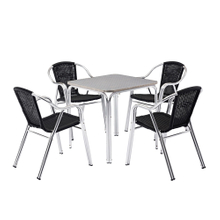 Beach Square Stainless Steel Cafe Table And Chairs China Manufacturer
