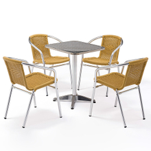 Outdoor Small Patio Rattan Wicker Table And 4 Chair Set