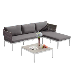 Outdoor Patio Grey Wicker Furniture Sectional With Chaise Sets