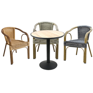Garden Rattan Coffee Bistro Aluminium Table And Chairs Set