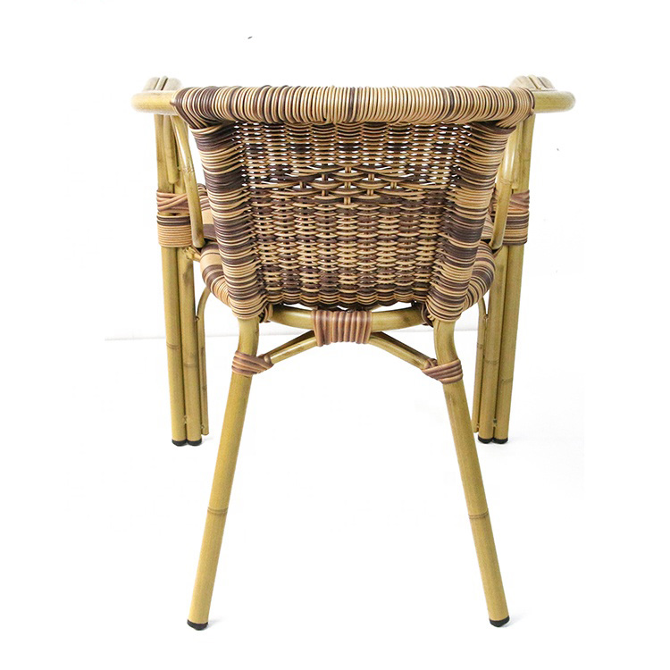 Rattan Garden Bar High Back Wicker Woven Round Bamboo Chairs