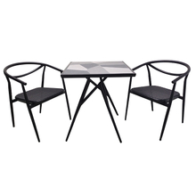 Patio Outdoor Bistro Room Ceramic Tile Top Dining Table Set