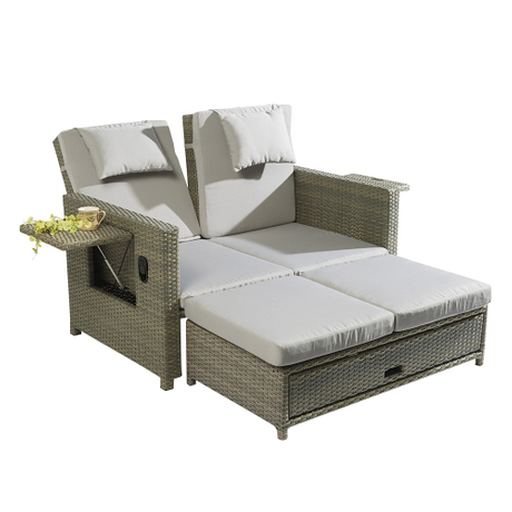Cheap Plastic Rattan Folding Garden Sun Loungers